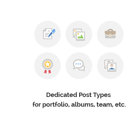 Dedicated Post Types for portfolio, albums, team, etc.