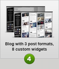 Blog with 3 post formats, 8 custom widgets